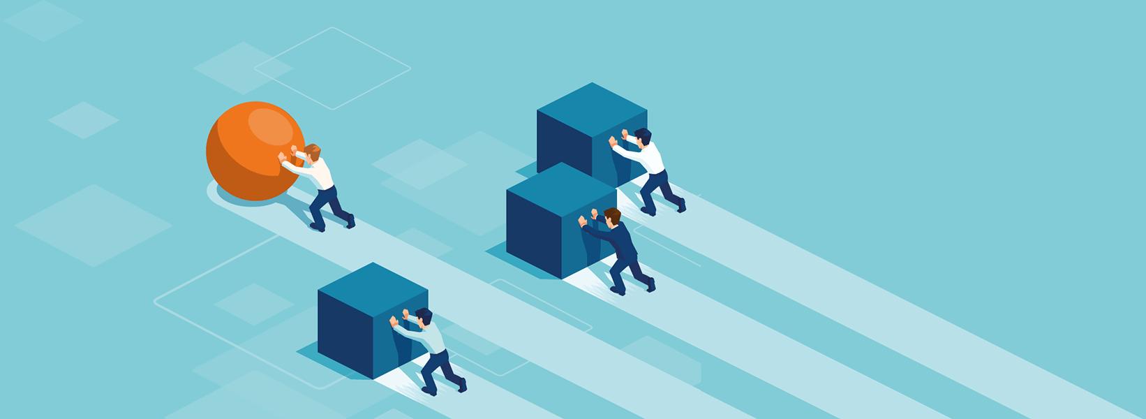 Illustratie die symbool staat voor slimmer werken. Drie medewerkers duwen een blok voort, en een andere medewerker duwt een bol voort. Die laatste medewerker is sneller.